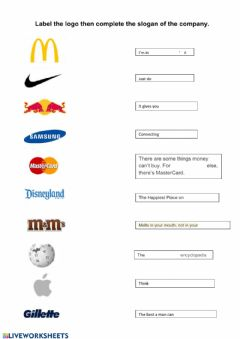Interactive worksheet Logos and slogans