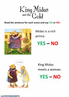 Interactive worksheet King Midas and the Gold 2