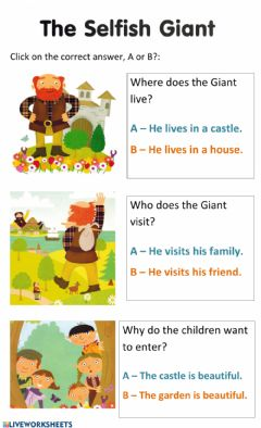 Interactive worksheet The Selfish giant 2