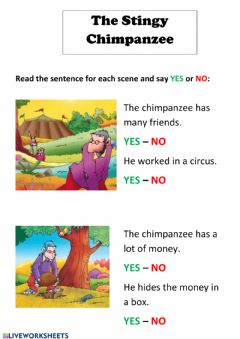 Interactive worksheet The Stingy Chimpanzee 2