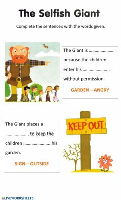 Interactive worksheet The Selfish giant 3