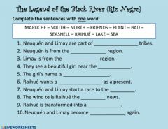 Interactive worksheet The legend of the Black River