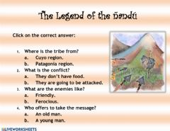 Interactive worksheet The legend of the ñandú