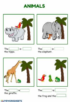 Ficha interactiva Animals and Prepositions and more