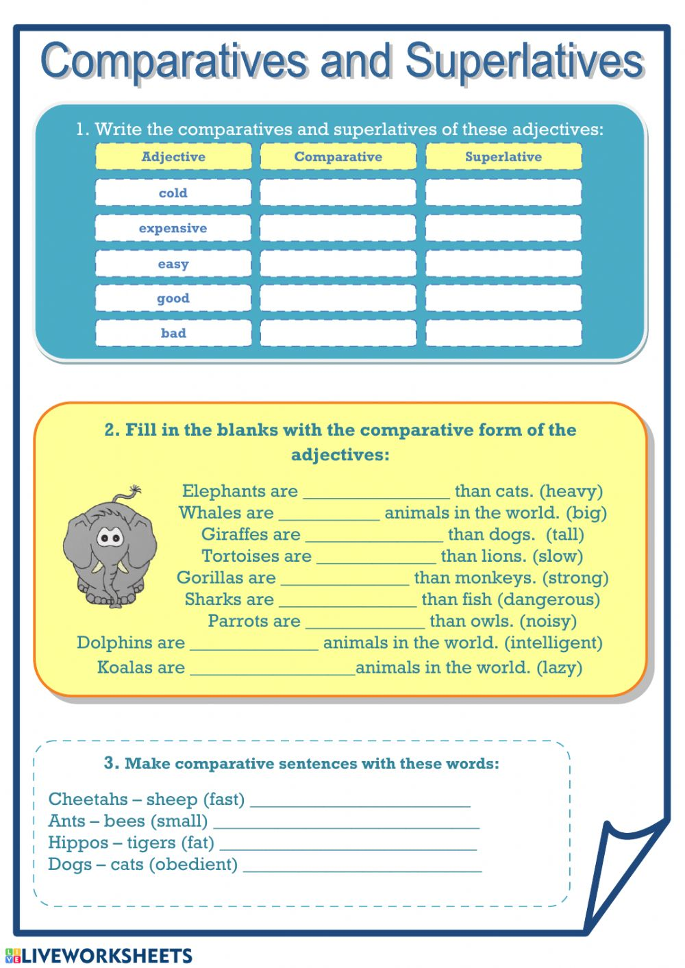 906051408448033001 Worksheets With Comparative And Superlative Adjectives on 3rd grade, for hard,