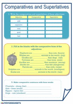 English Exercises: Comparison of adverbs and adjectives