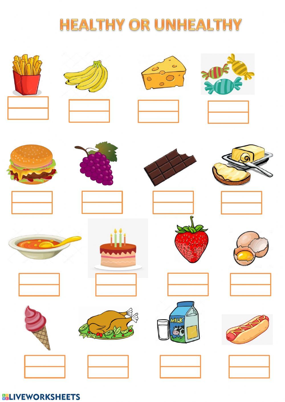 Healthy And Unhealthy Food Choices Worksheets Teaching