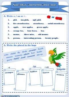 Interactive worksheet Singular and Plural nouns