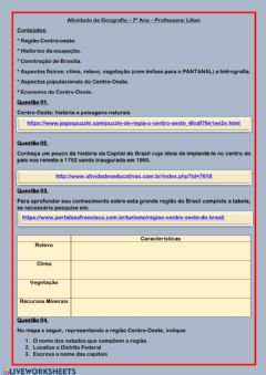 Interactive worksheet Geografia 7º Ano