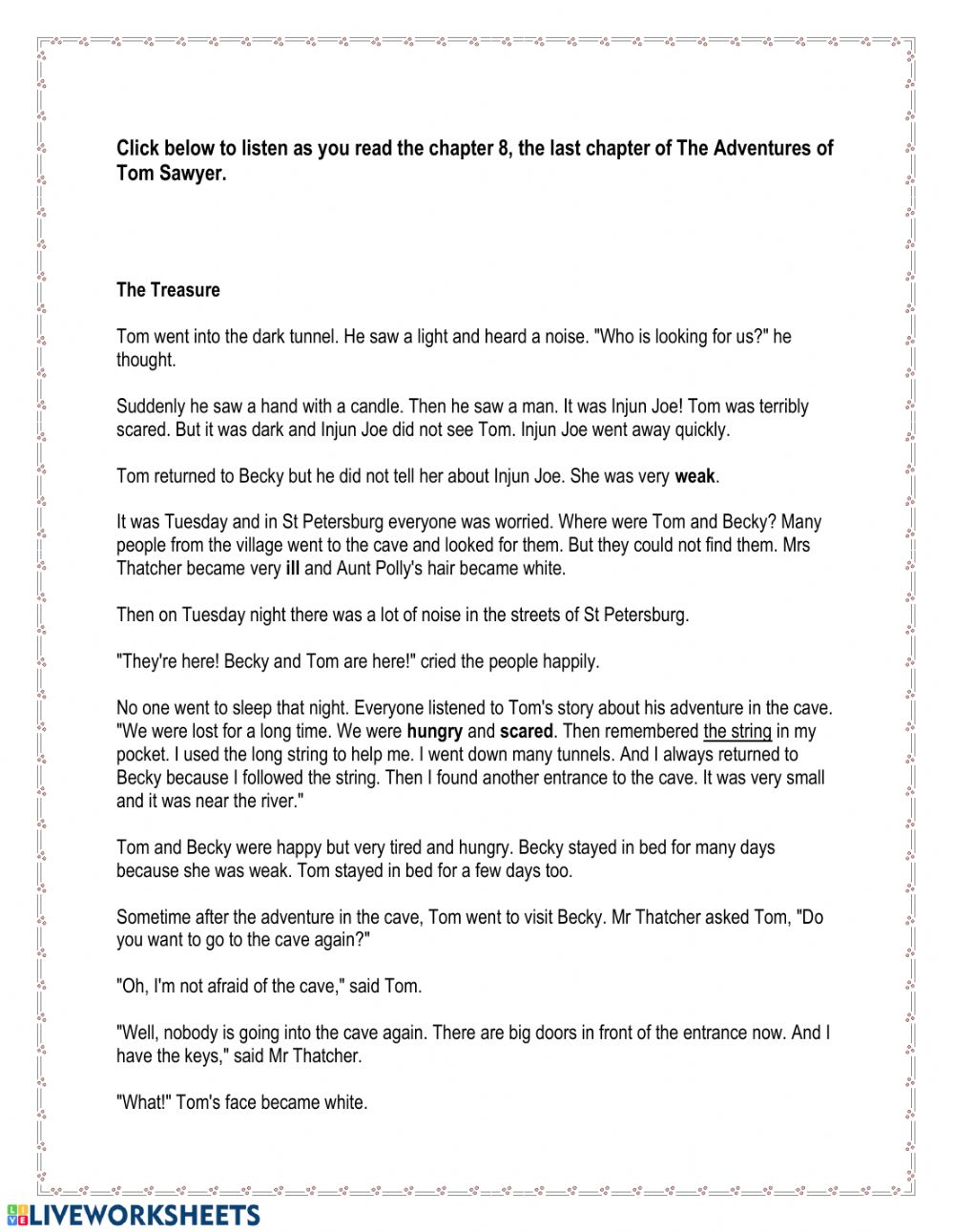 - The Adventures Of Tom Sawyer Chapter 8 - Interactive Worksheet