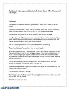 Interactive worksheet The Adventures of Tom Sawyer Chapter 8