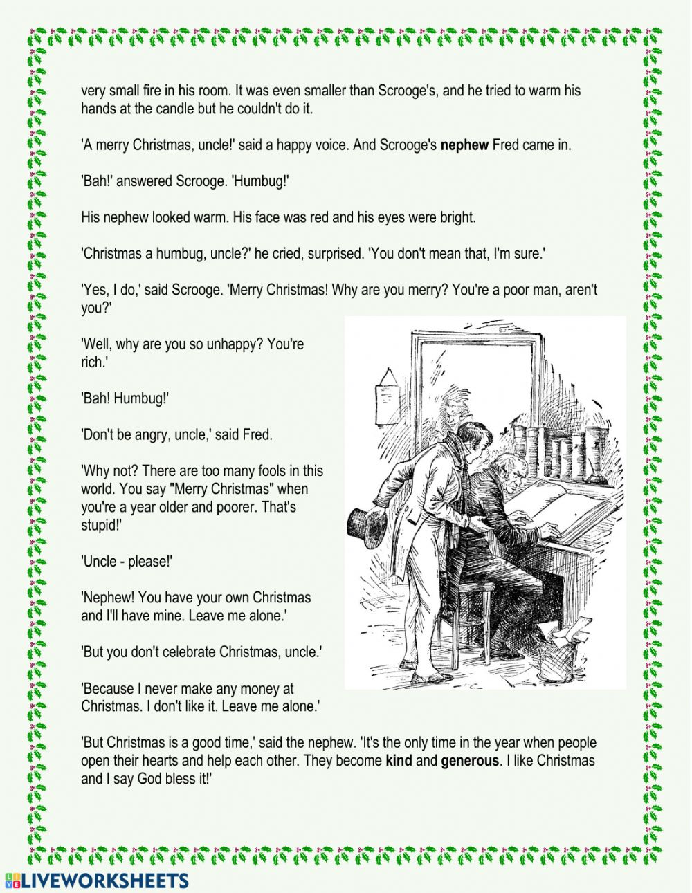 A Christmas Carol Chapter 1 Interactive Worksheet