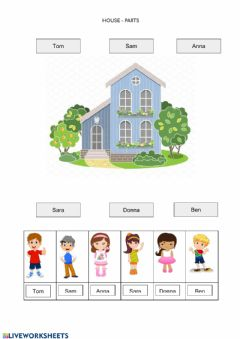Interactive worksheet House Parts