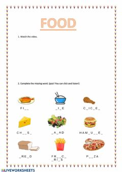 Interactive worksheet Vocabulary food