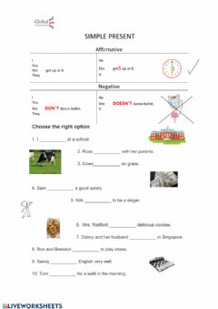 Interactive worksheet Simple present Intro