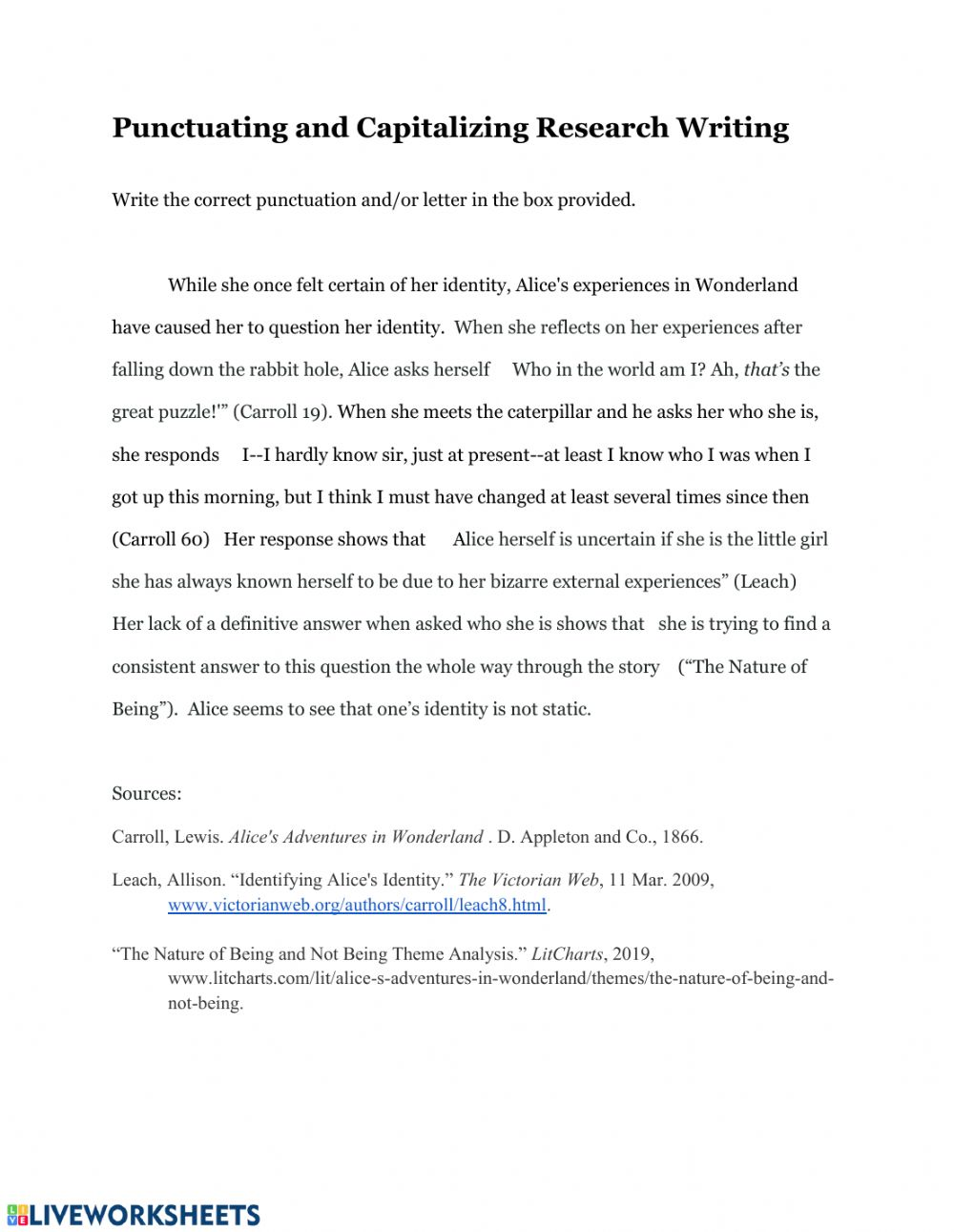 Punctuating Embedded Quotations - Interactive worksheet