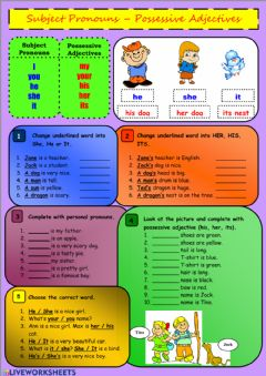 Interactive worksheet Subject Pronouns – Possessive Adjectives