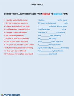 Interactive worksheet Past tense