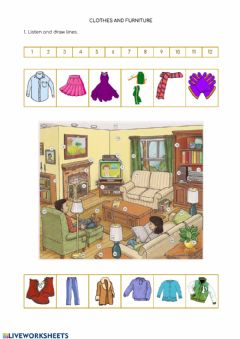 Interactive worksheet Clothes and Furniture