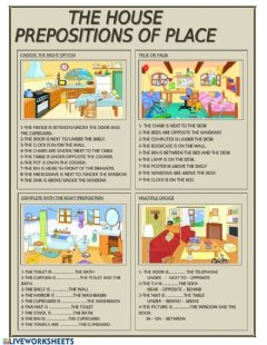 Interactive worksheet prepositions, flat
