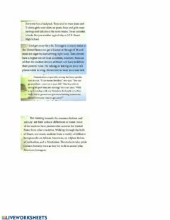 Ficha interactiva Advanced text about travel