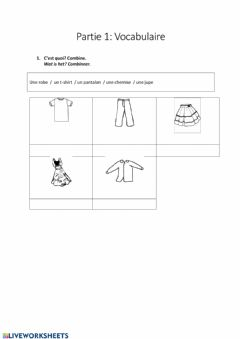 Interactive worksheet Partie 1: Vocabulaire