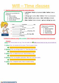 Interactive worksheet Will - Time Clauses