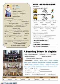 Interactive worksheet Listening test: school routine