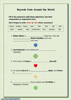Interactive worksheet Record from Around the World