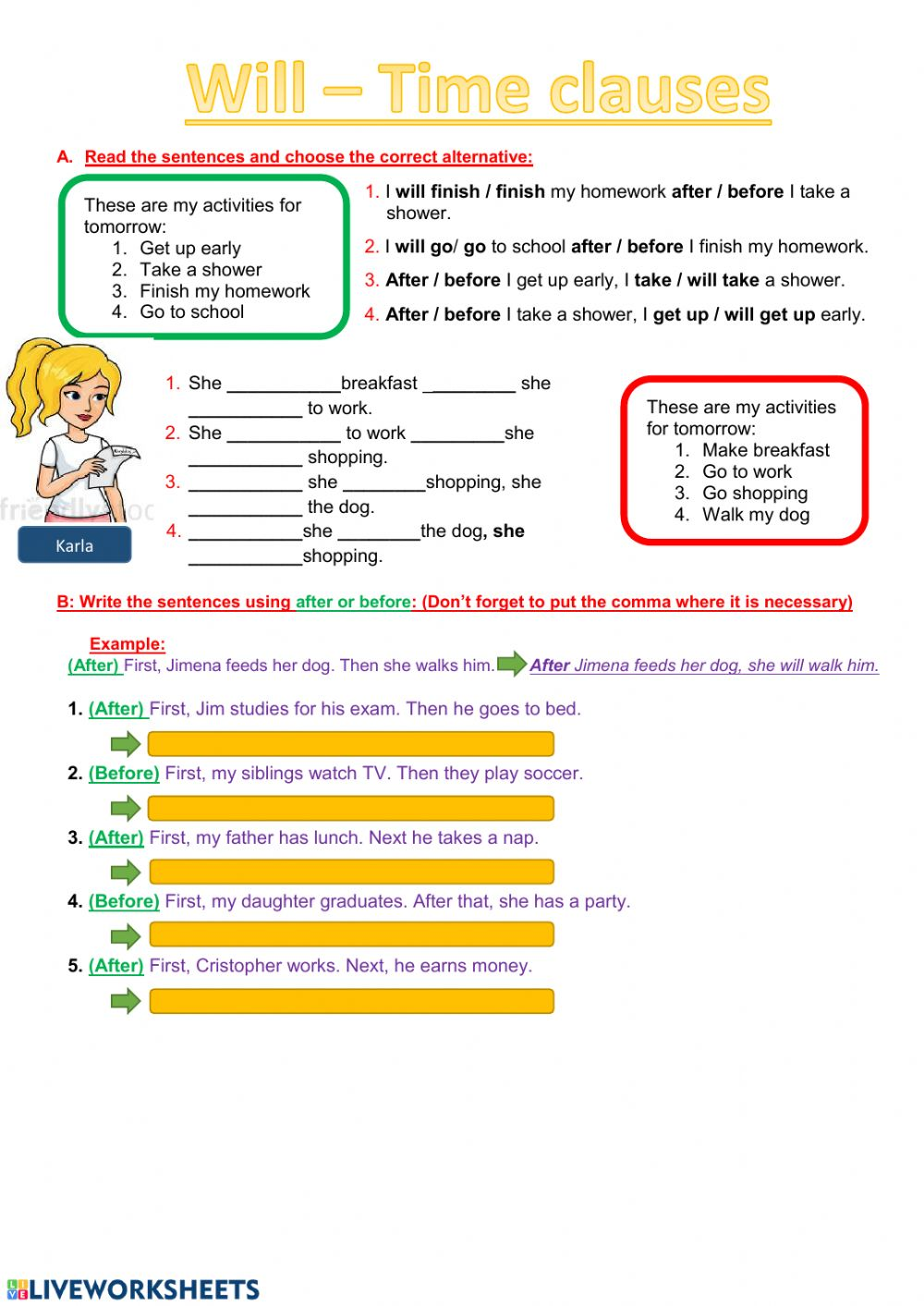 Will   Time Clauses worksheet