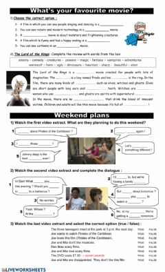 Interactive worksheet Weekend plans