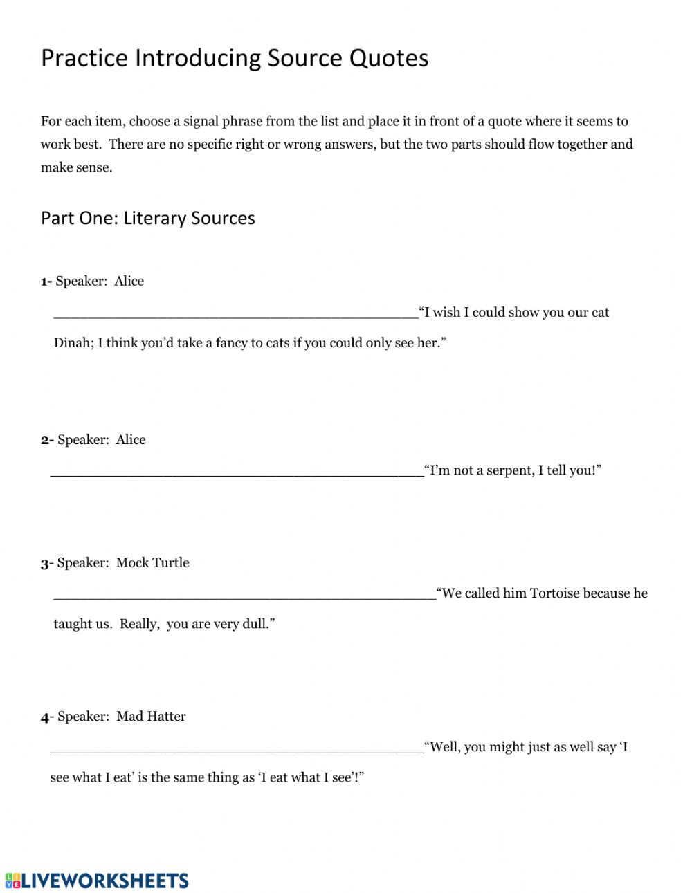 Practice with signal phrases in writing - Interactive worksheet