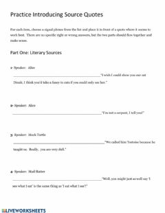 Interactive worksheet Practice with signal phrases in writing