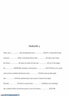 Interactive worksheet Tinderella - an adult story with narrative tenses