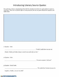 Interactive worksheet Intro Lit Evidence 2