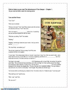 Interactive worksheet The Adventures of Tom Sawyer Chapter 1