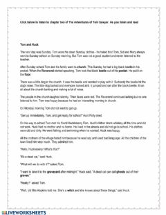 Interactive worksheet The Adventures of Tom Sawyer Chapter 2