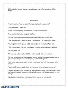 Interactive worksheet The Adventures of Tom Sawyer Chapter 3
