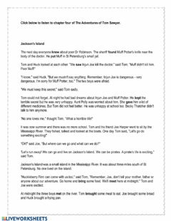 Interactive worksheet The Adventures of Tom Sawyer Chapter 4