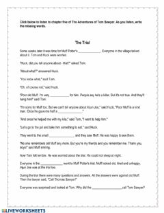 Interactive worksheet The Adventures of Tom Sawyer Chapter 5