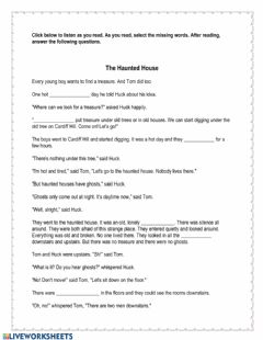 Interactive worksheet The Adventures of Tom Sawyer Chapter 6