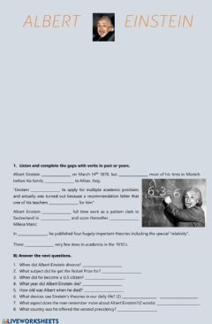 Interactive worksheet Albert Einstein biography listening
