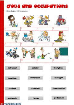 Interactive worksheet Jobs ans occupations