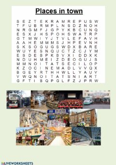 Interactive worksheet Places in town - word search
