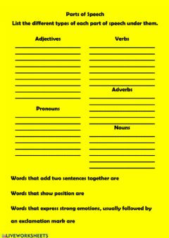 Interactive worksheet Parts of speech review