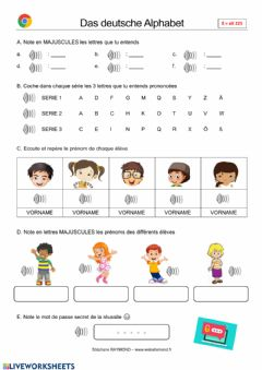 Interactive worksheet Das deutsche Alphabet