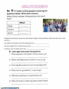 Interactive worksheet Relationships and family