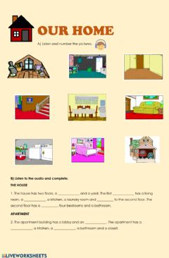 Interactive worksheet The house and furniture