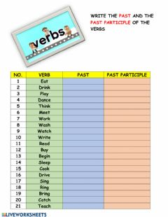 Ficha interactiva Past and past participle of verbs