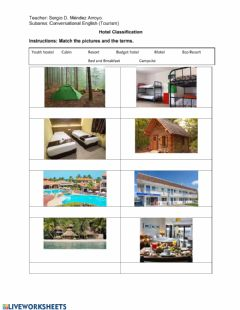 Interactive worksheet Classification of Hotels